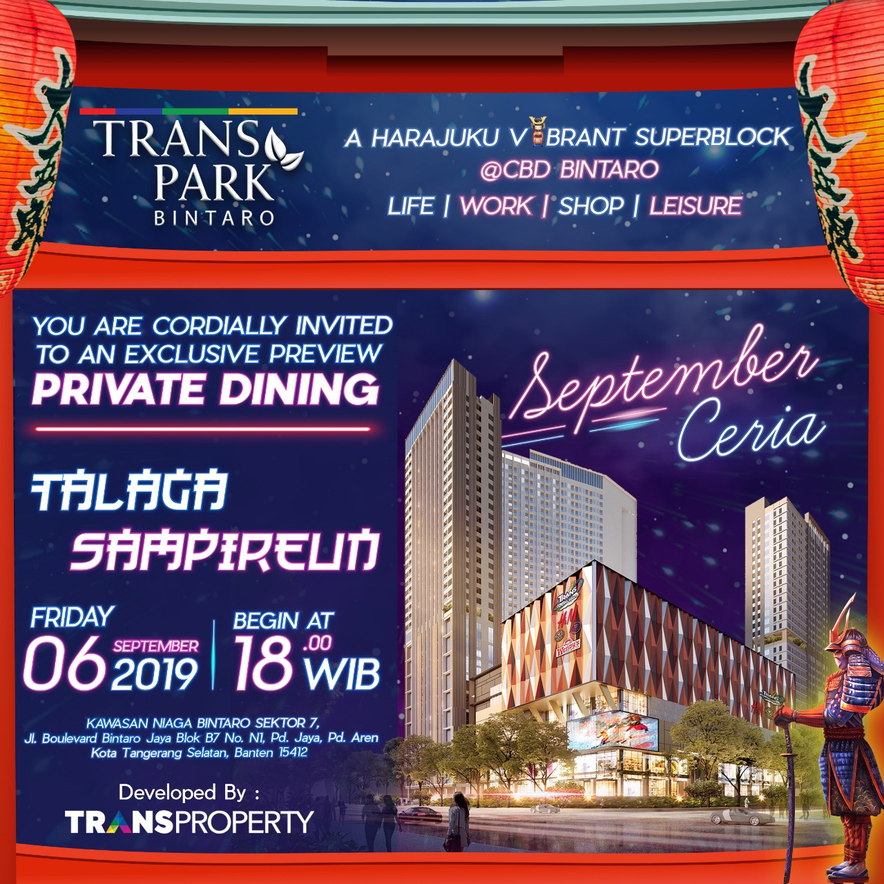 Private Dining Transpark Bintaro 6 September 2019
