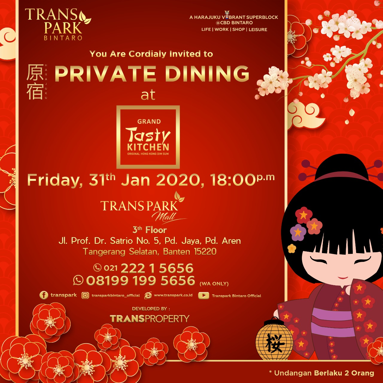 Private Dining at Tasty Kitchen 31 Januari 2020